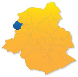 Berchem sur la carte des 19 communes de BRuxelles