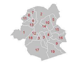 carte des 19 communes de Bruxelles